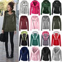 Lady Hoodie Sweatshirt Zip Up Plain Jacket Hooded Womens Jumper Hoody Coat