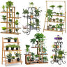 Tiered Plant Stand A Frame Ladder Flower Pot Holder Tall Metal Rack Wheels Shelf