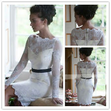 Short Grace Lace Long Sleeves Beach Bridal Gown Sheath Wedding Dress White Ivory
