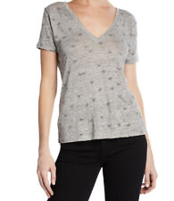 Rails Top Medium Cara Embroidered Butterfly Tee Gray V Neck Shirt