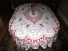 """Magnificent Vtg Tablecloth Nottingham, Appenzil, Bobbin Lace 91""""X 59"""" Cotton Ex"""