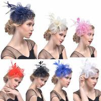 Women Flower Mesh Ribbons Feathers Headband Cocktail Tea Party Hat Headwear