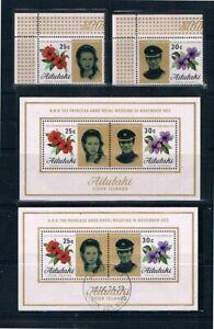 Aitutaki 1973 Princess Anne - Singles & Mini Sheet -SC 77-78a [SG82-MS84] MNH S5