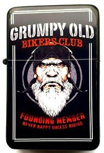 GRUMPY OLD BIKERS Black Petrol Lighter in  black velvet pouch.