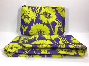3pc Clinique Cosmetic Makeup Bags (Purple ,Yellow)