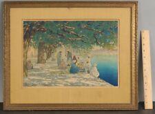 Antique Original Charles W. Bartlett Silk Merchants India Woodblock Print