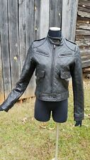 Baby phat leather black moto quilted motorcycle jacket bomber M