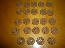 "Lot 24 Vintage Celluloid Buttons- Pierced- Beige Flower- 1/2"" # 2790"