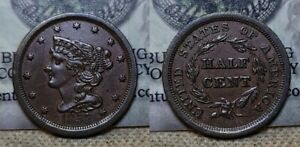 1857 Braided Hair Half Cent 1/2c  About Uncirculated