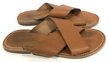 Madewell Women's Slide Sandals Flat Leather Brown Sz 7.5 Criss Cross Slip On