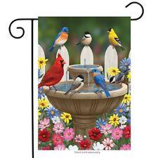 "Birdbath Gathering Spring Garden Flag Floral Birds 12.5"" x 18"" Briarwood Lane"