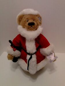 """Annette Funicello 11"""" Santa Bear with Original Tags"""