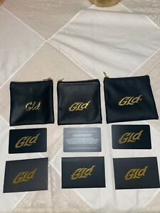 The Gld Shop leather 3 Gift bags and Warranty Cards New Pendant, necklace bag