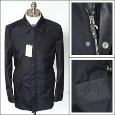 New BRIONI Italy Navy Silk Wool Leather Zip 3/4 Car Coat Jacket 50 M L NWT $3450