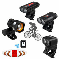 15000LM Bicycle Headlight Bike Front Lamp Remote Control Taillight Rechargeable