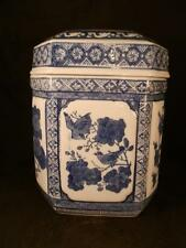 STUNNING ORIENTAL KANGXI PERIOD BLUE & WHITE CERAMIC GINGER JAR TEA CADDY