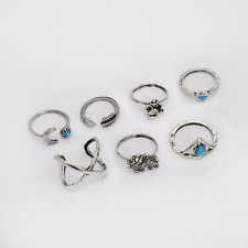Ring Set 7 Piece Silver Ethnic Stack Turquoise Ganesh Om Stack Celtic Size O