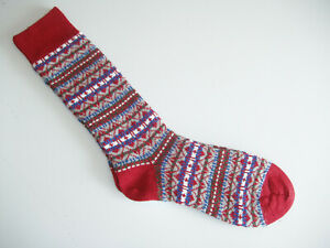 🇬🇧 Scandinavian Style Men's MERINO WOOL Fairisle Socks 6-11 UK Red Blue Grey