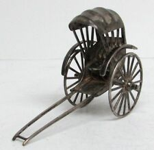 Antique Chinese Silver Miniature Rickshaw Taxi
