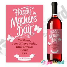 Rosa Personalizado El Dia De La Madre Regalo Etiqueta del vino