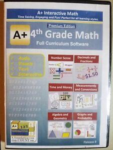 A+ Interactive Math Premium Ed Homeschool 4th Grade Full Curriculum Software
