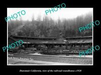 OLD LARGE HISTORIC PHOTO OF DUNSMUIR CALIFORNIA, THE RAILROAD ROUNDHOUSE c1920