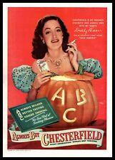 "1947 Dorothy Lamour ""Wild Harvest"" Film Pumpkin Chesterfield Cigarettes Print Ad"