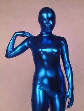 Full body lycra spandex zentai costume shiny metallic blue catsuit size S~XXL