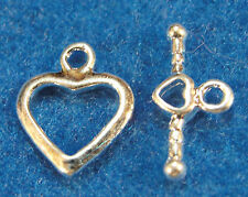 50Sets WHOLESALE Tibetan Silver-Plated Brass HEART Toggle Clasps Hooks Q0235