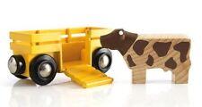 Holzeisenbahn Anhänger Tierwaggon Tierwagen mit Kuh Brio 33406
