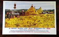 CASE THRESHING CO STEAM ENGINE & STEEL SEPERATOR Advertising Postcard 1909 Nice