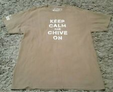 CHIVE TEES KEEP CALM AND CHIVE ON KHAKI TAN T SHIRT ~ Sz L