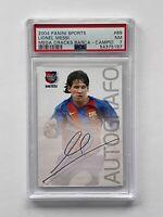 2004 Lionel Messi RC Panini Mega Cracks Barcelona Rookie Auto PSA 7 Barca #89