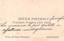 """BIGLIETTO DA VISITA """" RICCA PIETRO """" OLIO DI OLIVA DI CIVEZZA IMPERIA  23-18"""
