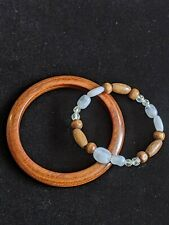 Natural Tone Wood Bangle And White Bread Stretch Bracelet