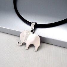 Silber Edelstahl Tier Elefanten Anhänger 3mm schwarz Leder Halskette Damenkette