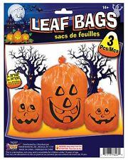 YARD DECOR LARGE PUMPKIN FACE LEAF BAGS 3 pc Party Decoration Haunted Decor B136