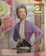 Vintage 50s Lady's Raglan Cardigan Knitting Pattern. Fit 32-36In Bust