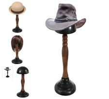 Vintage Hat Rack Wood Wigs Stand Display Wooden and Metal Caps Tabletop Hanger