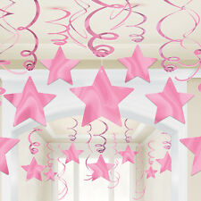 30 PACK SHOOTING STARS NEW PINK PARTY HANGING FOIL SWIRL CEILING DECORATIONS