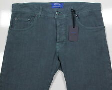 NWT New * CESARE ATTOLINI *Current Turquoise Green Cotton-Linen Stretch Jeans 33