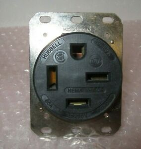 Hubbell Wiring Device-Kellems Hbl8460a 60A 4W Single Receptacle 250Vac 15-60R Bk