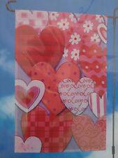 VALENTINE HEARTS LOVE Garden Flag 12 x 18  NEW