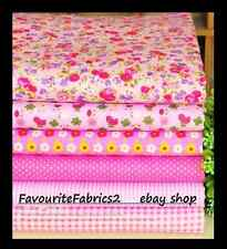 NEW 6pcs BUNDLE pink COTTON FABRIC/MATERIAL floral dots sewing Quilting Crafts