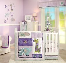 Carters Zoo Collection 4pc Baby Girl Crib Bedding Set Elephant Giraffe  Purple