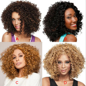 Women Short Spiral Curls Black Brown Blonde Golden Brown Curly Synthetic Wigs