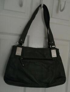 Tignanello Green Soft Leather Purse Handbag Two Compartments