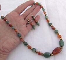 """Green Aventurine Dendritic Carnelian Brass Bead 21 3/4"""" Necklace Earrings Set"""
