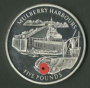 GIBRALTAR 2004 MULBERRY HARBOURS POPPY FIVE POUNDS PROOF COIN MINT