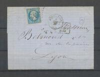 1867 Lettre APRES LE DEPART 2448 + GC sur n°22 + C 15 Montelimar, TB X5122